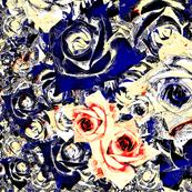 Roses - navy, cream & red