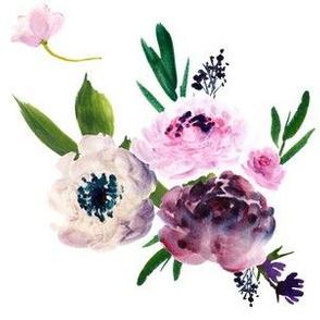 Dark Grey Beauty - Light Florals - White