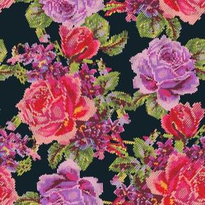 Faux Knit English Garden - Black/Purple
