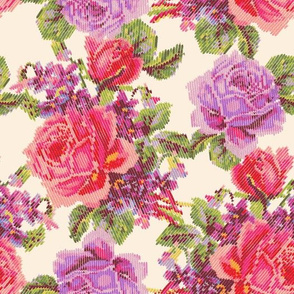 Faux Knit English Garden - Ivory/Purple