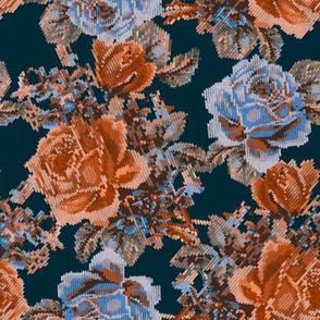 Faux Knit English Garden - Navy/Sienna
