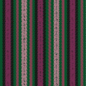 JP27 - Rustic Raspberry and Pine Green Jagged Stripes