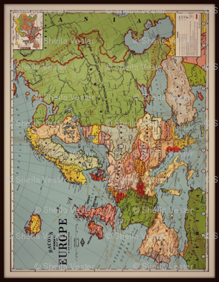 Europe vintage map, colorful, 14 by 18