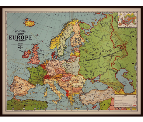 Europe vintage map, large, colorful fabric by svester on Spoonflower - custom fabric