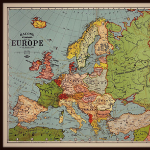 Europe vintage map, large, colorful