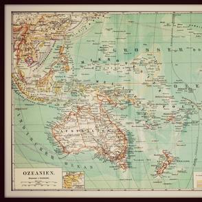 Oceania, Australia vintage map, large