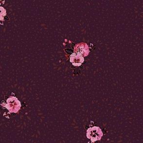 Subtle Ditsy Floral - Aubergine
