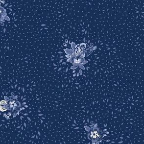 Subtle Ditsy Floral - Midnight Blue