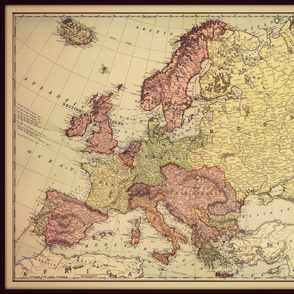 Europe vintage map, muted colors, large