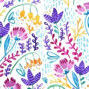 Wonderland Flowers - White background
