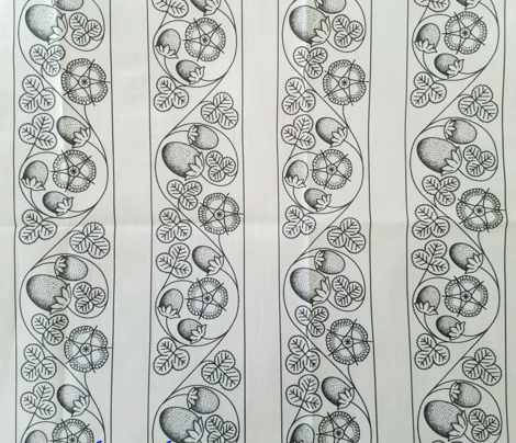 Scrolling Blackwork Strawberry Bands