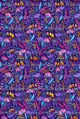 Wonderland Flower Pattern - Purple Background