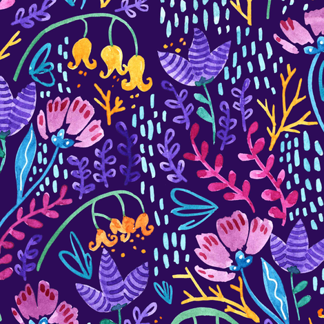 Wonderland Flower Pattern - Purple Background fabric by kitcronk on Spoonflower - custom fabric