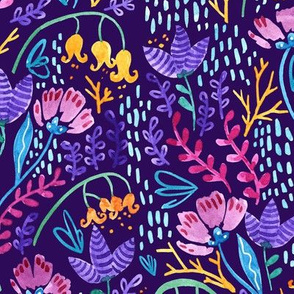 Wonderland Flower Pattern - Purple Background