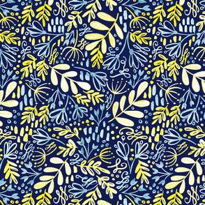 Garden at Dusk - Dark Blue Background