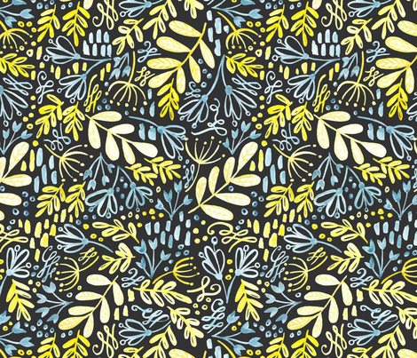 Garden at dusk - grey background fabric by kitcronk on Spoonflower - custom fabric
