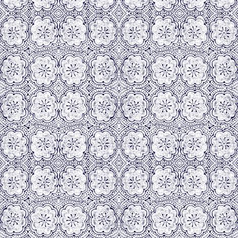flowers in blue small fabric by lasidi on Spoonflower - custom fabric