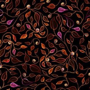 wirly leaves on black