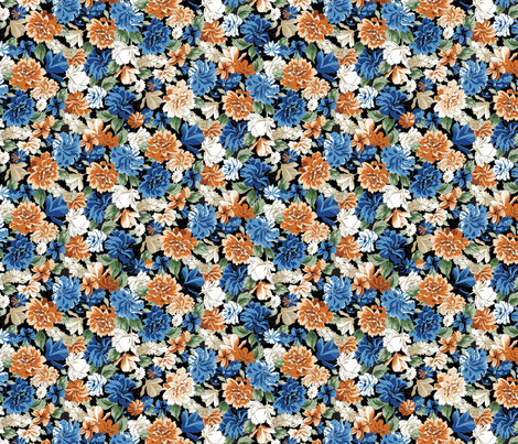 Sally Floral - Black fabric by meganpalmer on Spoonflower - custom fabric