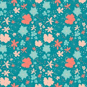 Spring Flowers | Teal Coral