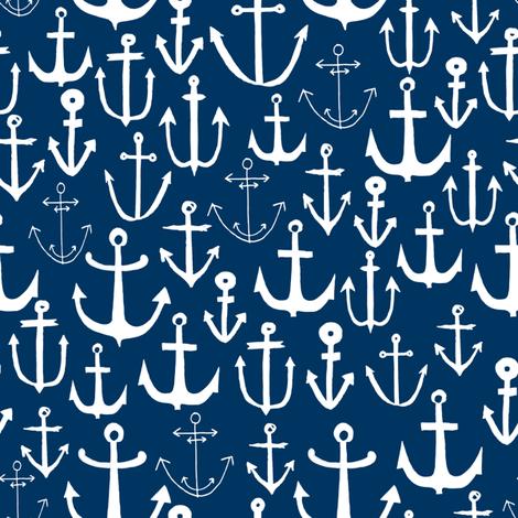 anchors // navy blue anchor fabric nautical fabric kids summer print nautical decor print fabric by andrea_lauren on Spoonflower - custom fabric