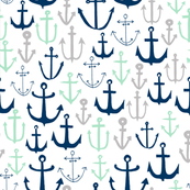 anchors // mint navy and grey anchor fabric nautical design baby kids summer print andrea lauren fabric andrea lauren design