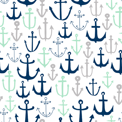 anchors // mint navy and grey anchor fabric nautical design baby kids summer print andrea lauren fabric andrea lauren design fabric by andrea_lauren on Spoonflower - custom fabric