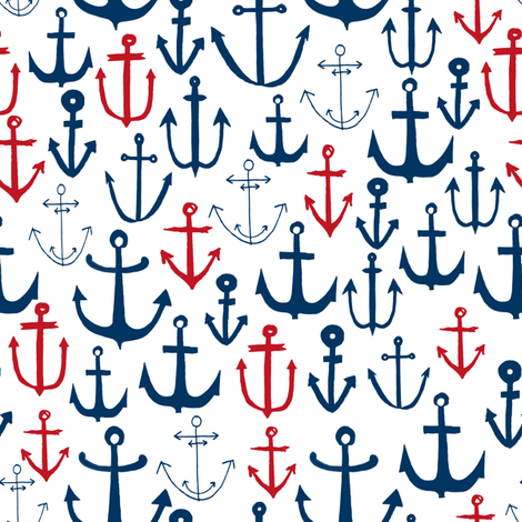 anchors // navy and red anchor fabric nautical fabric nautical pattern nautical decor andrea lauren design fabric by andrea_lauren on Spoonflower - custom fabric