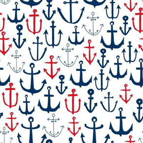 anchors // navy and red anchor fabric nautical fabric nautical pattern nautical decor andrea lauren design