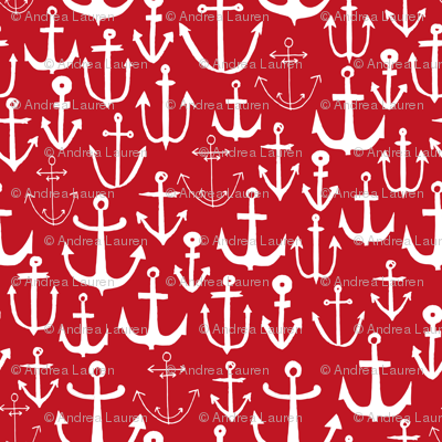 anchors // anchor red nautical fabric nautical design pattern anchors fabric nautical red summer fabric