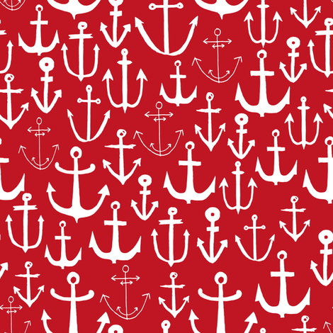 anchors // anchor red nautical fabric nautical design pattern anchors fabric nautical red summer fabric fabric by andrea_lauren on Spoonflower - custom fabric
