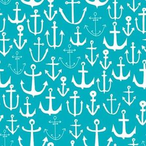 anchors // turquoise nautical fabric anchor print pattern nautical design andrea lauren fabric andrea lauren design