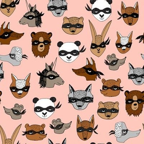 bandit animals // pink bandit animals fabric cute kids play dressup fabrics best animals illustration andrea lauren fabric andrea lauren design cute designs by andrea lauren