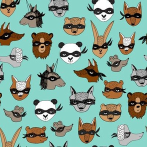 bandit animals // mint bandit animals fabric cute animal design best grey and mint nursery baby dressup cute kids play fabric
