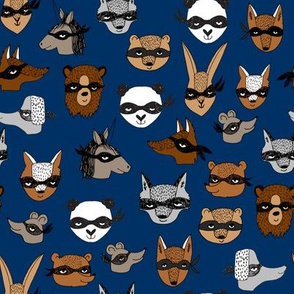 bandit animals // navy blue animal fabric cute kiddos pattern print design andrea lauren animals fabric