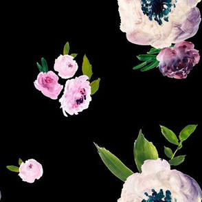 Dark Beauty Floral - Free Falling - Black