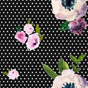 Dark Beauty - White Polka Dots / Black Background