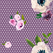 Dark Beauty - White Polka Dots / Dark Lilac Background