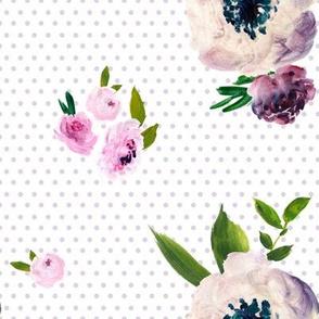 Dark Beauty - Lilac Polka Dots / White  Background