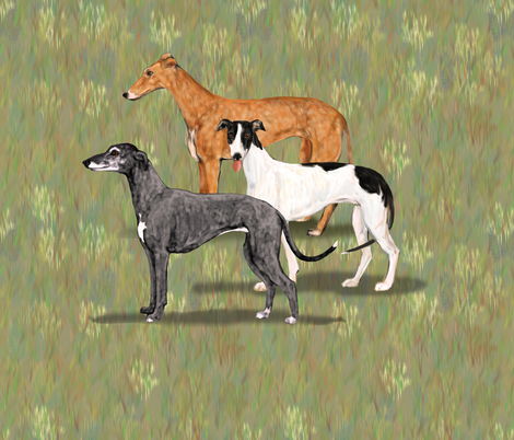 Three Greyhounds for Pillow fabric by eclectic_house on Spoonflower - custom fabric