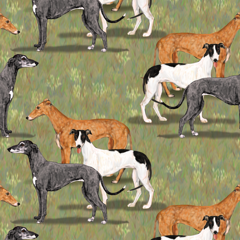 Three Greyhounds Blue Red Fawn and Black and White fabric by eclectic_house on Spoonflower - custom fabric
