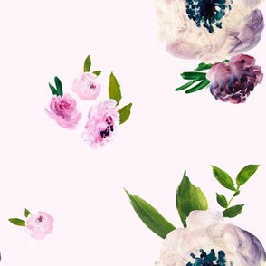 Dark Beauty Floral - Free Falling - Pink Background