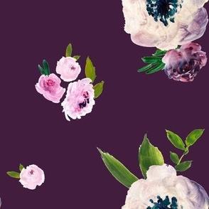Dark Beauty Floral - Free Falling - Purple