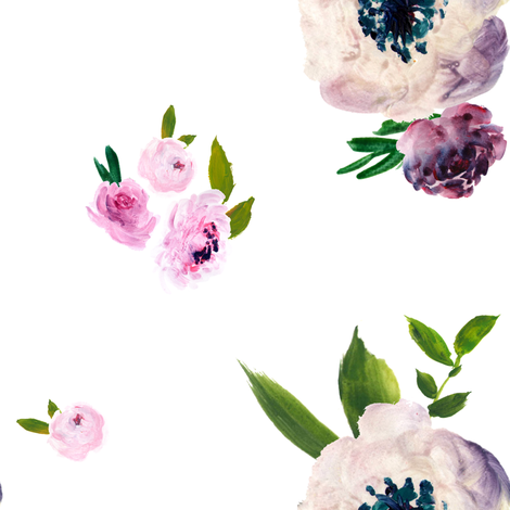 """8"""" Dark Beauty Floral - Free Falling -White fabric by shopcabin on Spoonflower - custom fabric"""