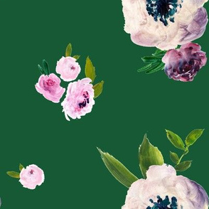 Dark Beauty Floral - Free Falling - Green  - Original Color