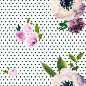 Dark Beauty -Green Polka Dots /  White Background