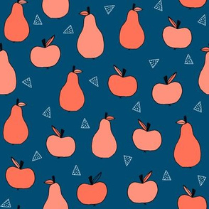 apples and pears // navy and coral apple fabric fruits fall autumn  fabric andrea lauren design