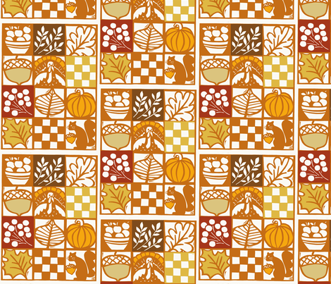 thanksgiving woodcut 3 fabric by nsta on Spoonflower - custom fabric