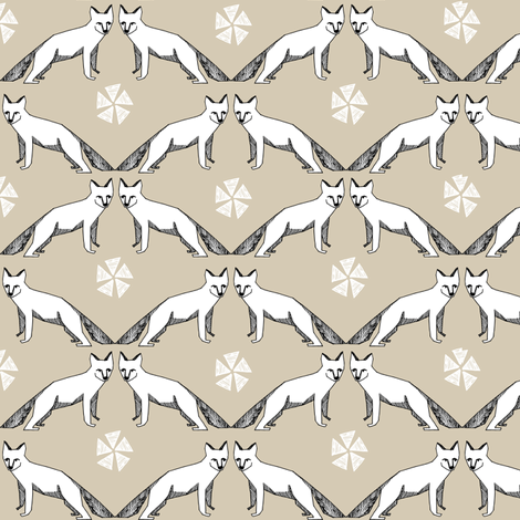 arctic fox //  khaki fox design arctic fox design andrea lauren nursery fabric  fabric by andrea_lauren on Spoonflower - custom fabric