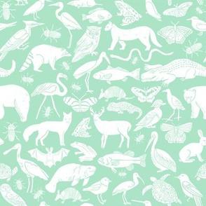 linocut animals // mint animals fabric zoo animals animalarium birds nature print andrea lauren fabric mint baby fabric